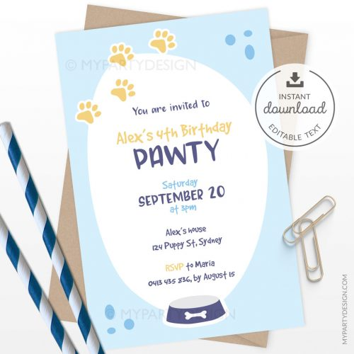 printable blue puppy birthday invitation for a dog themed party