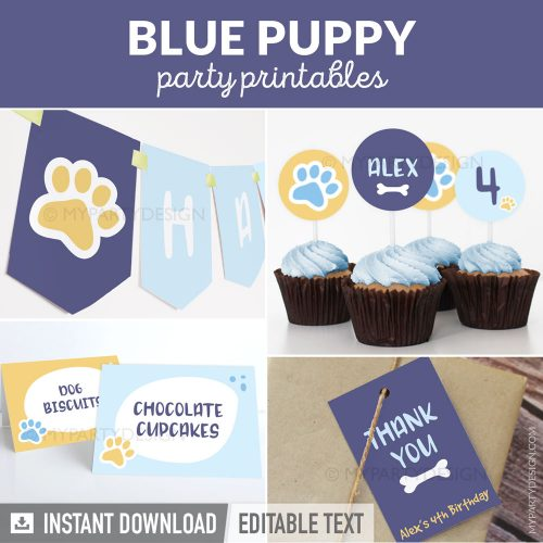 blue puppy party decorations printables