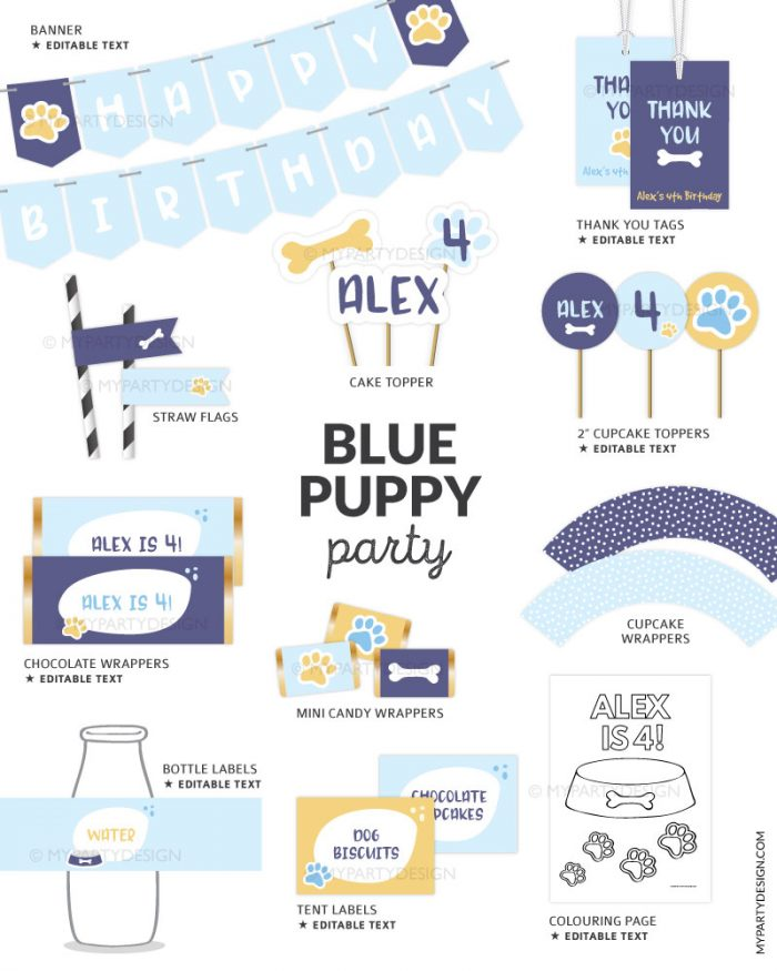 printable blue puppy party decorations