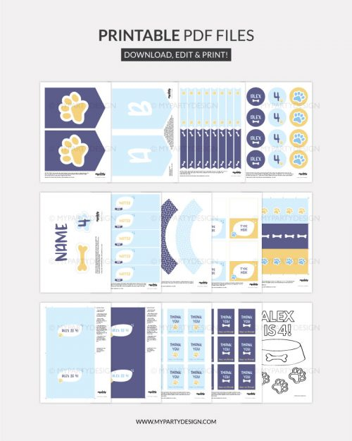 printable blue dog party decorations