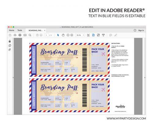 editable boarding pass template