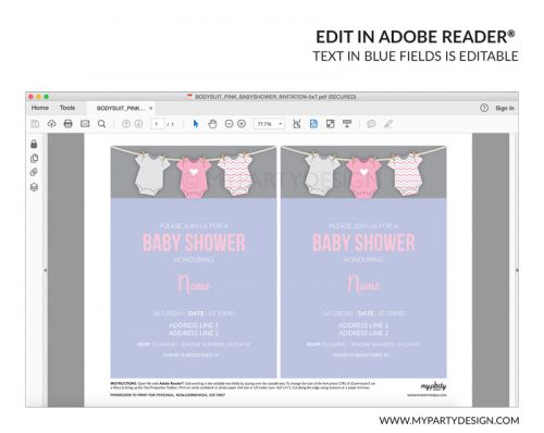 pink baby shower party invitation - editable printable invite