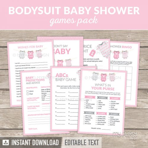 Pink Baby Shower Games Printable