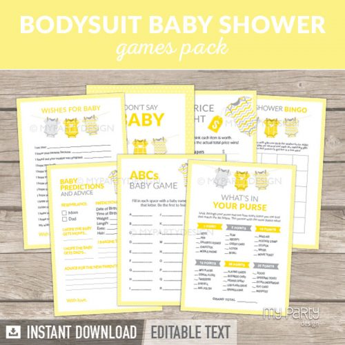 Yellow Baby Shower Games Printable