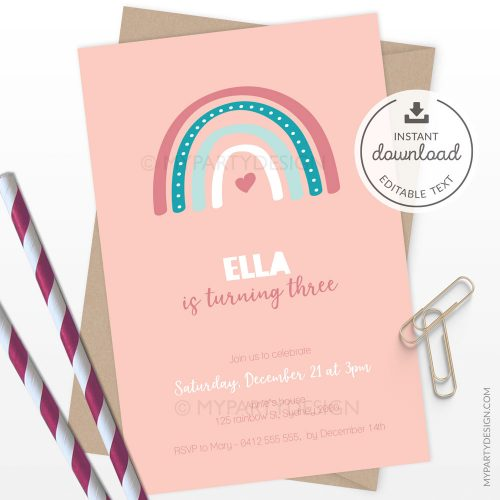 printable boho rainbow invitation for a girl's birthday or baby shower