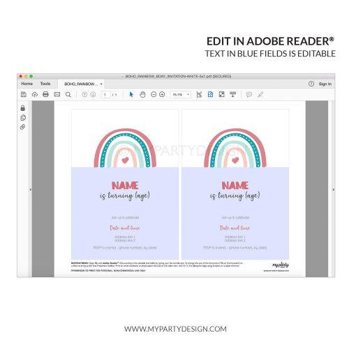 printable editable boho rainbow invitation for a birthday or baby shower