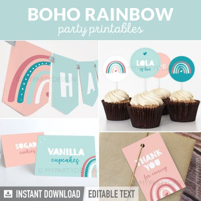 boho rainbow party decorations printables