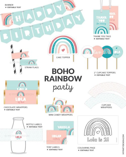 boho rainbow birthday decorations printables