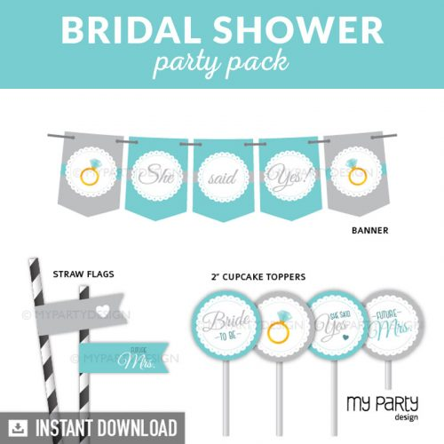 Bridal Shower Party Printable Decorations in turquoise