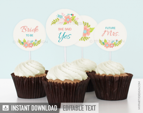 printable floral bridal shower cupcake toppers