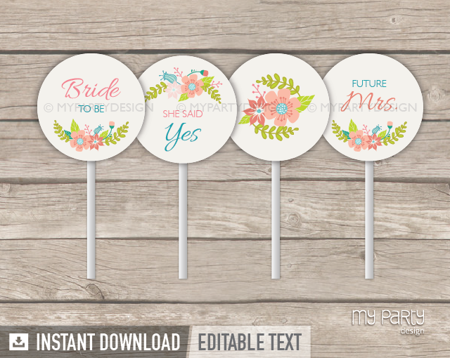 Floral Bridal Shower, ivory PRINTABLE Cupcake Toppers - My ...
