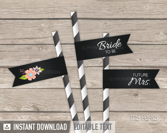 printable chalk floral bridal shower straw flags