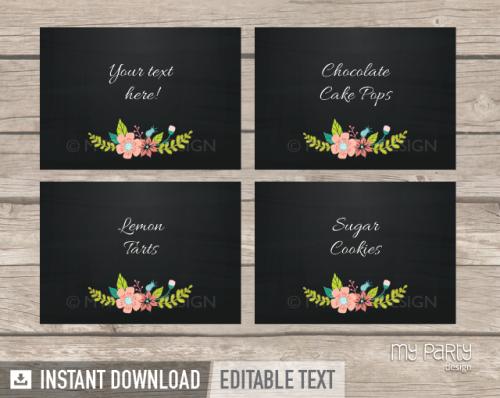 printable chalk floral bridal shower food labels