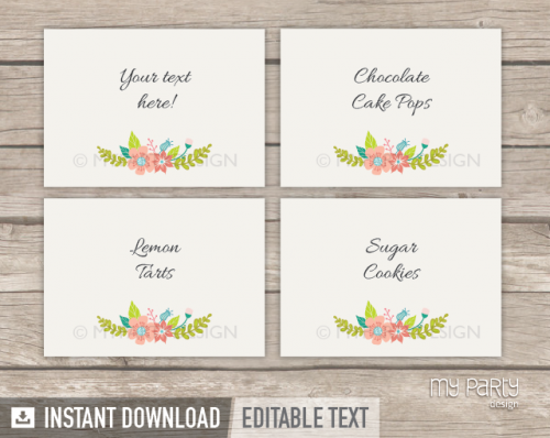 printable floral bridal shower straw flags