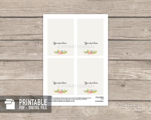 printable floral bridal shower food labels