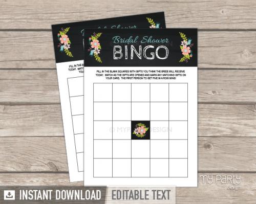printable chalk floral bridal shower bingo game