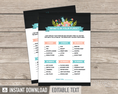 printable chalk floral bridal shower what's in your purse game