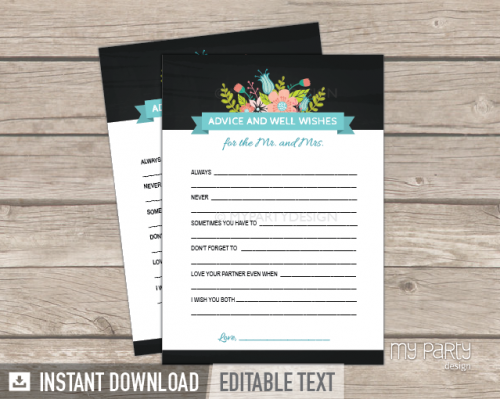 printable chalk floral bridal shower advice and well wishes for the mr and mrs