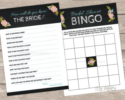 printable black floral bridal shower games