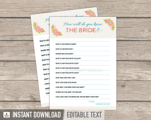 printable floral bridal shower how well do you know the bride game