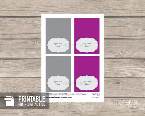 printable purple party food labels