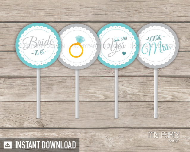 Bridal Shower Scalloped Theme Printable Cupcake Toppers