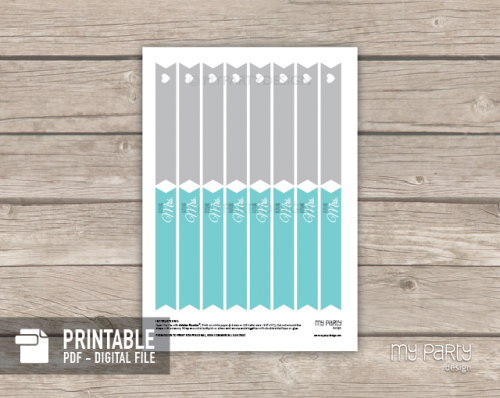 printable turquoise straw flags for bridal shower