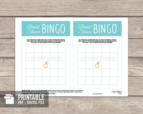 printable turquoise bridal shower bingo