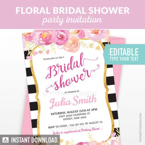 Black and Gold Floral Bridal Shower Party Printable Editable Invitation