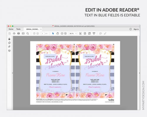 floral bridal shower party invitation - editable printable invite