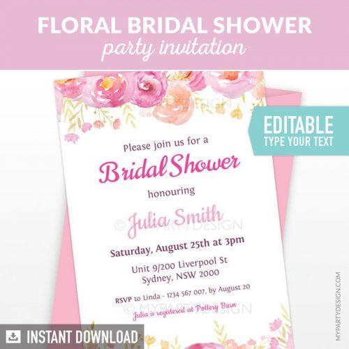 Floral Bridal Shower Party Printable Editable Invitation