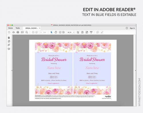 pink floral bridal shower party invitation - editable printable invite