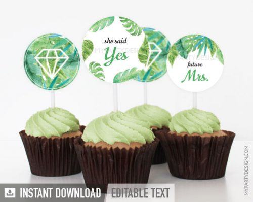 tropical bridal shower cupcake toppers