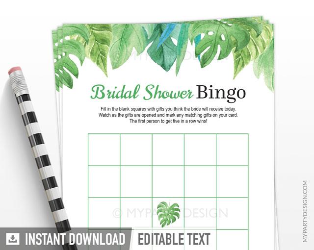 tropical bridal shower bingo