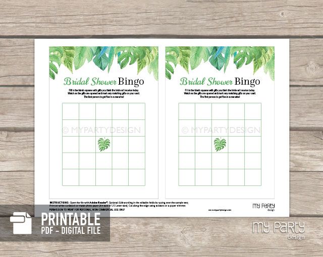 printable bridal shower bingo