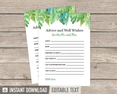 printable advice and well wishes for the mr and mrs