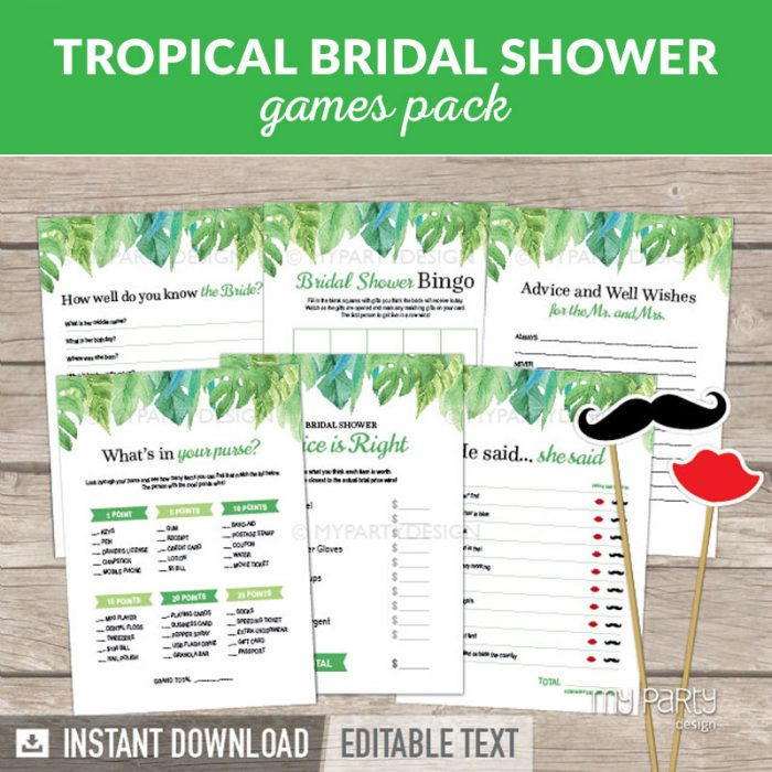 Bridal Shower Party Printable Party games in tropical theme