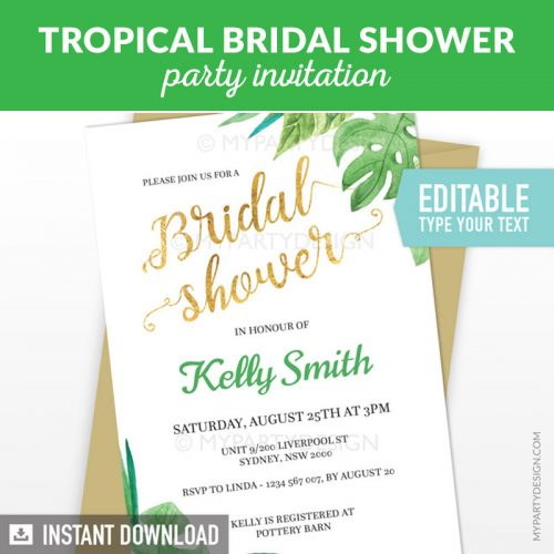 Tropical Bridal Shower Party Printable Editable Invitation