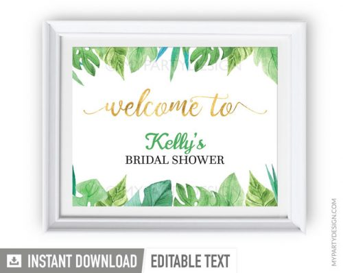 printable tropical floral bridal shower welcome sign