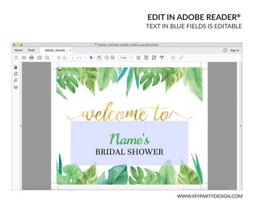 editable tropical floral bridal shower welcome sign