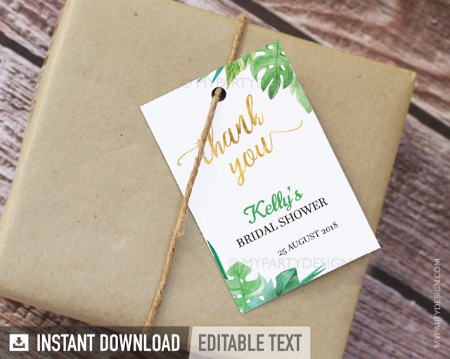 tropical bridal shower thank you tags
