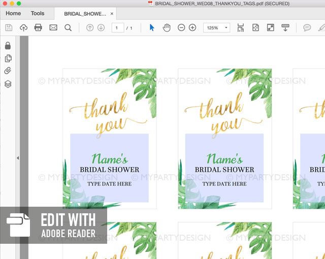 editable tropical bridal shower thank you tags