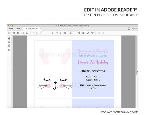 bunny easter party invitation - editable printable invite