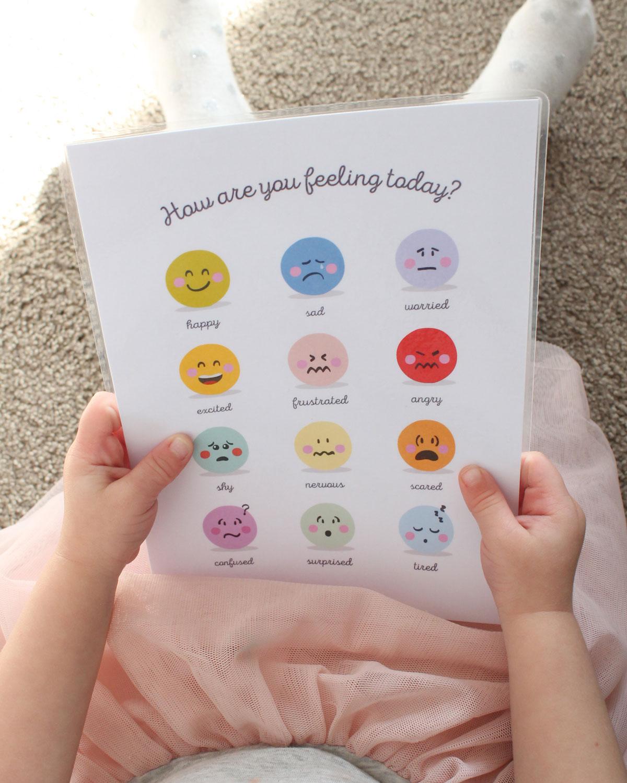 feelings chart in calm corner for kids