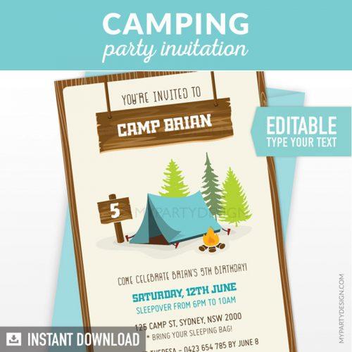 Camping Birthday Invitation