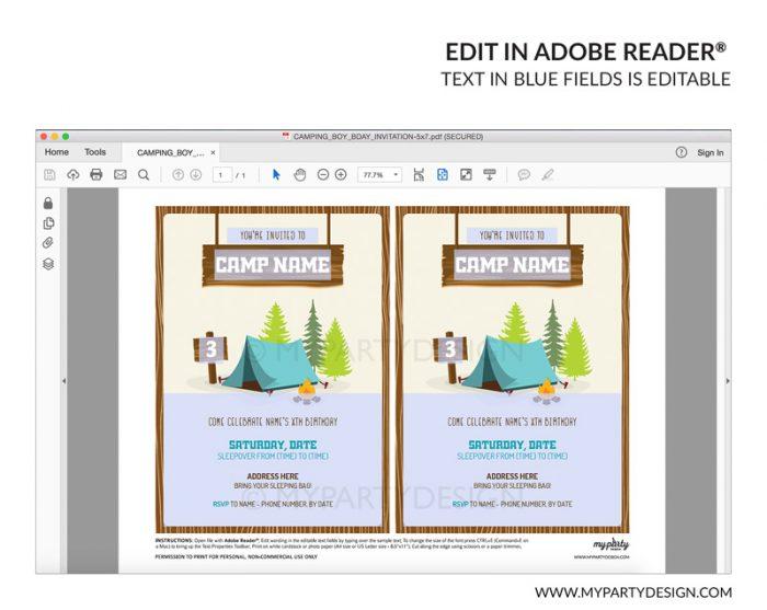 camping party invitation - editable printable invite