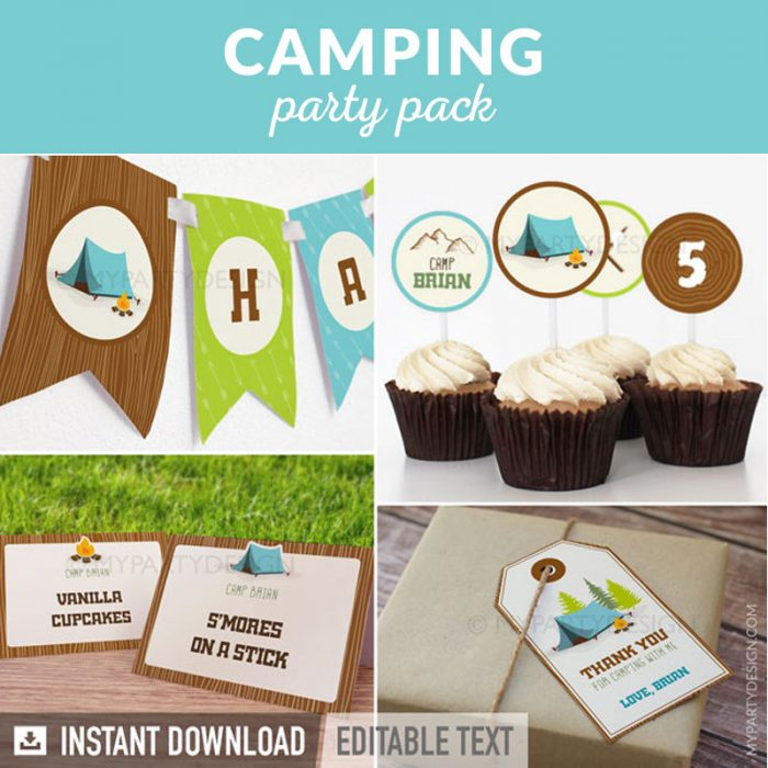 camping party decoration printables