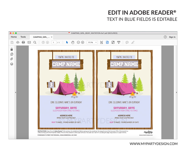 pink camping party invitation - editable printable invite