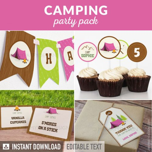 camping party decoration printables in ink