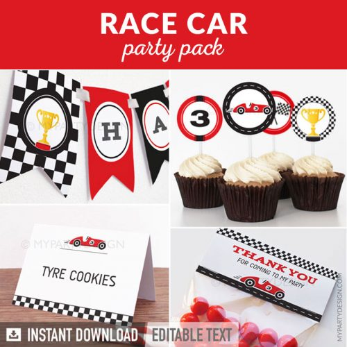 race car party decoration printables